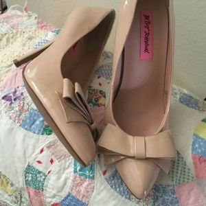Betsey Johnson Reload Patent Leather Nude Pumps
